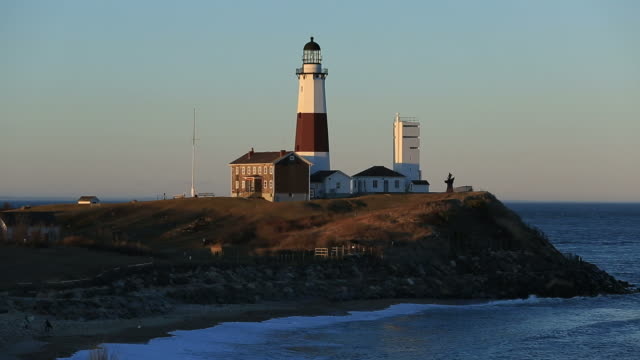 montauk point light - lighthouse stock videos & royalty-free footage