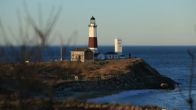 montauk point lighthouse - long island railroad stock videos and b-roll footage