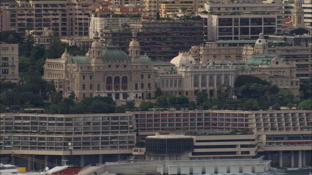 aerial monte carlo casino with modern building just below/ monte carlo, france - monaco stock videos & royalty-free footage