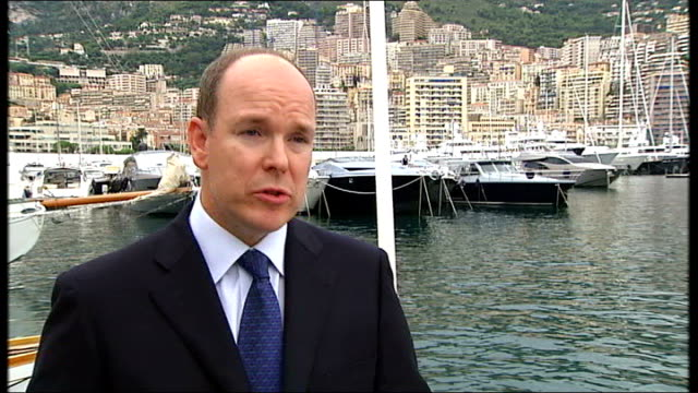 monte carlo port hercules prince albert ii of monaco interview sot the us has expressed interest - monaco royalty stock videos and b-roll footage