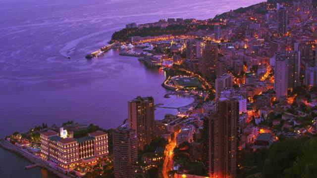 monte carlo,monaco, elevated view, evening. - monaco stock videos & royalty-free footage