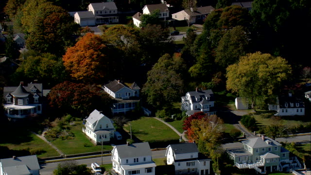 monte cristo cottage (eugene o'neill's summer home)  - aerial view - connecticut,  new london county,  united states - new london county connecticut stock videos & royalty-free footage