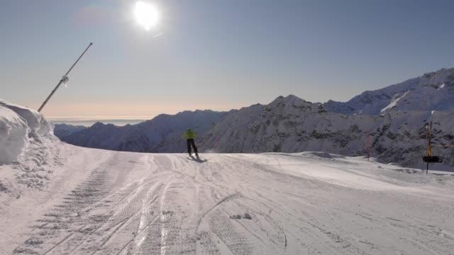 monte rosa mountain on winter, rear view of skier pushing to start - ski lift stock videos & royalty-free footage