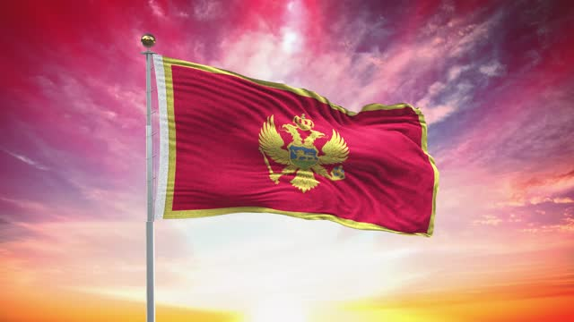 montenegrin flag, loopable, included green screen chroma key version, waving in wind slow motion animation, 4k realistic fabric texture, continuous seamless loop background - prime minister stock videos & royalty-free footage