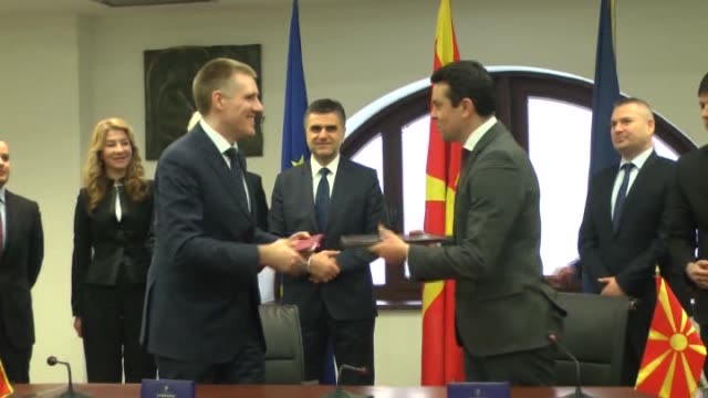 montenegrin foreign minister igor luksic meets with macedonian foreign minister nikola poposki in skopje macedonia on february 23 2015 montenegrin... - skopje stock videos and b-roll footage