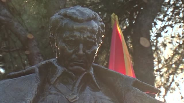 montenegro unveils a statue of communist leader josip broz tito reversing a trend in parts of the former yugoslavia towards airbrushing him out of... - airbrush stock videos & royalty-free footage