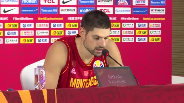montenegro's coach zvezdan mitrovic and player nikola vucevic hold a press conference following turkey won their first game in the classification... - fourth quarter sport stock videos & royalty-free footage
