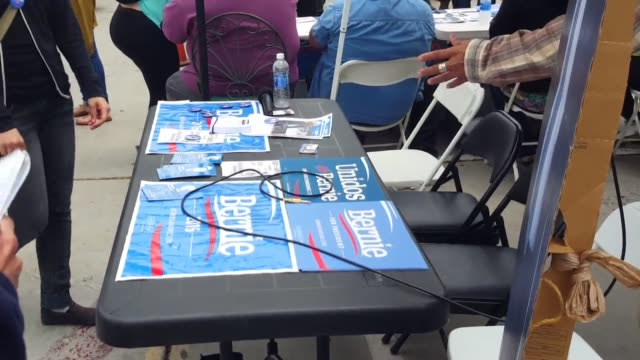 monterey park ca students gather at free speech zone for voter registration in support of bernie sanders actress and activist frances fisher and... - dawson city点の映像素材/bロール