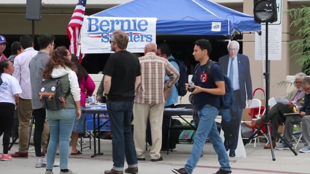 monterey park ca students gather at free speech zone for voter registration in support of bernie sanders actress and activist frances fisher and... - dawson city stock videos and b-roll footage