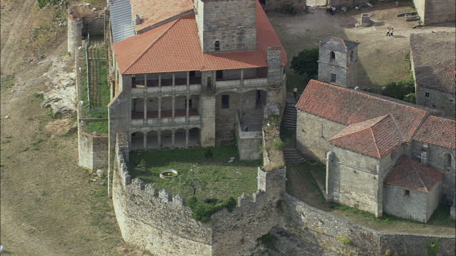 aerial ms monterrei castle exterior / monterrei, galicia, spain - courtyard stock videos and b-roll footage