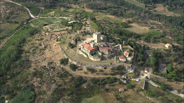 aerial ws monterrei castle / monterrei, galicia, spain - galicia stock videos & royalty-free footage