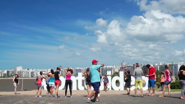 montevideo monument, kibon, pocitos beach, montevideo, uruguay, 2015 - montevideo stock videos & royalty-free footage