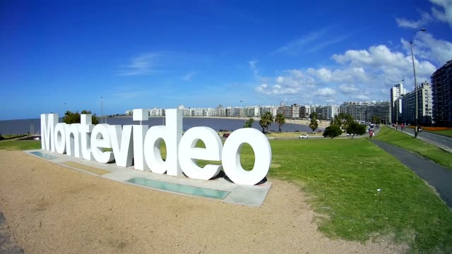montevideo monument, kibon, pocitos beach, montevideo, uruguay, 2015 - montevideo stock videos and b-roll footage