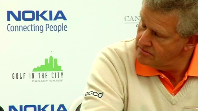 Montgomerie and Gallagher at Nokia golf event ENGLAND London INT Colin Montgomerie press conference SOT Talks of the Nokia Golf in the City initiative