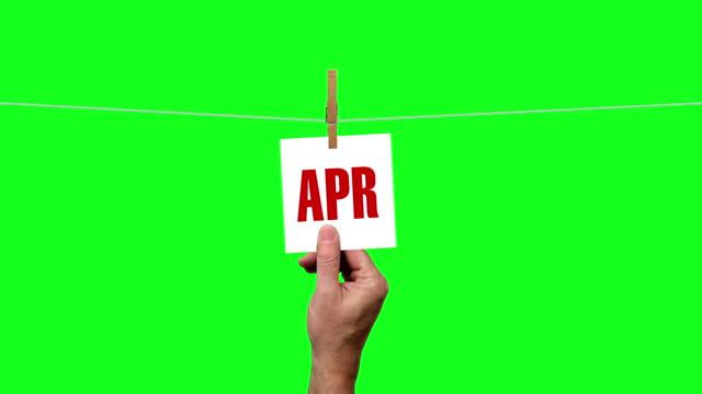 グリーン画面で月カレンダーカウントダウン1月から12月 - 六月点の映像素材/bロール