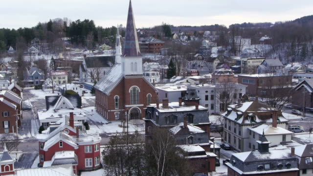 Montpelier Historic District, Main Street, church, rooftop view, snow, Montpelier, USA