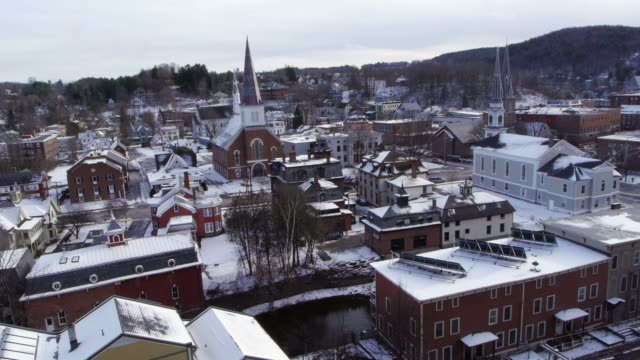 Montpelier Historic District, Main Street, Winooski River, churches, rooftop view, snow, Montpelier, USA
