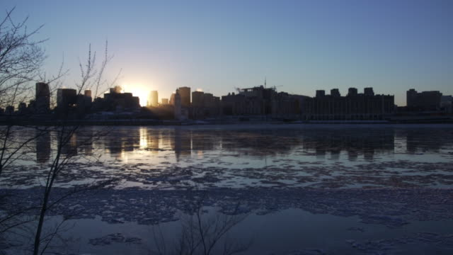 Montreal and St. Lawrence river in winter