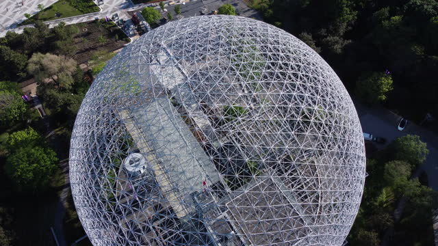 montreal biosphere aerial view in summer - architecture stock videos & royalty-free footage