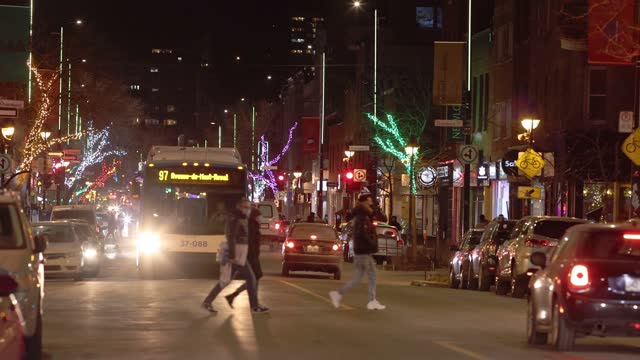 montreal christmas decorated avenue mont-royal late december scene at night - montréal stock videos & royalty-free footage
