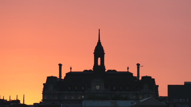 montreal city hall at sunset in summer - vieux montréal stock videos & royalty-free footage