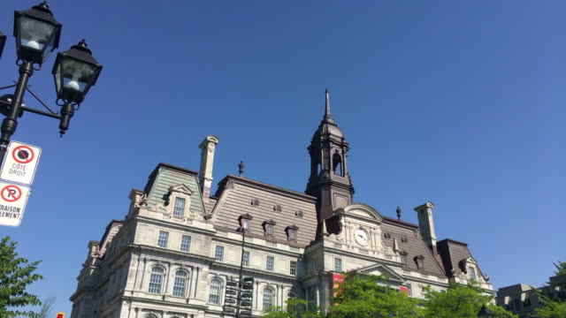montreal city hall building in old montreal which is a unesco world heritage site, canada - no parking sign stock videos & royalty-free footage