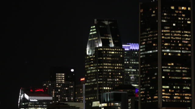 montreal cityscape skyscrapers in summer at night - hotel de ville montreal stock videos & royalty-free footage
