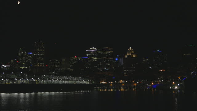 montreal cityscape skyscrapers in summer at night - vieux montréal stock videos & royalty-free footage