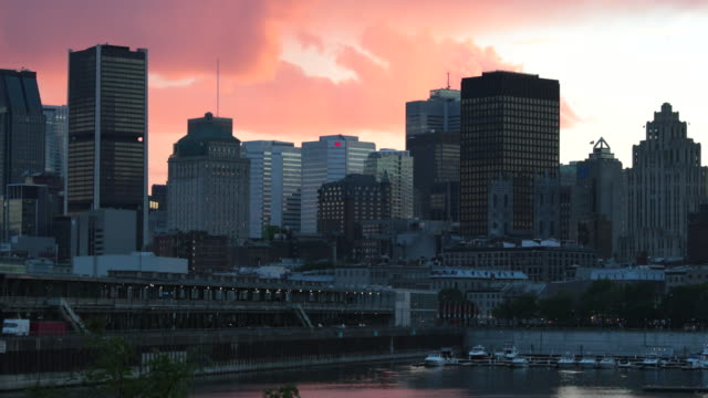 montreal, quebec cityscape at sunset - famous place stock videos & royalty-free footage