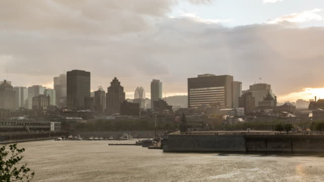 montreal, quebec cityscape at sunset - montreal video stock e b–roll