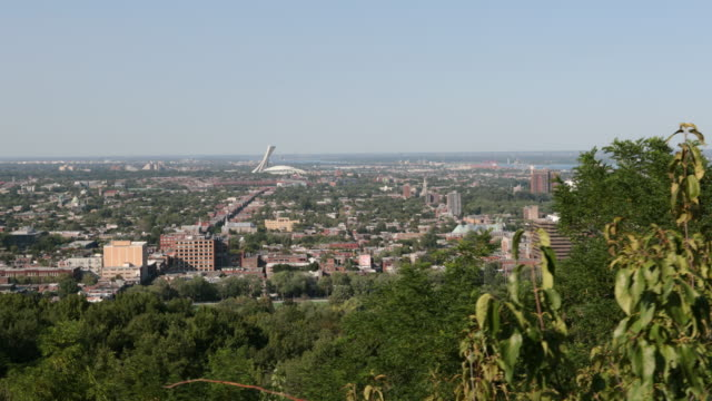 montreal, quebec cityscape view from camille houde belvedere - montreal video stock e b–roll