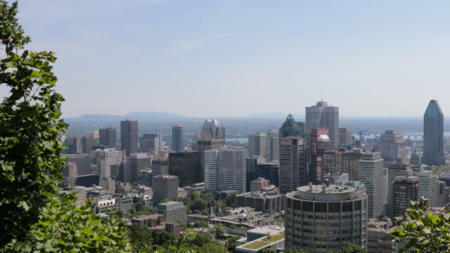 montreal, quebec cityscape view from mount royal park belvedere - montreal stock videos and b-roll footage