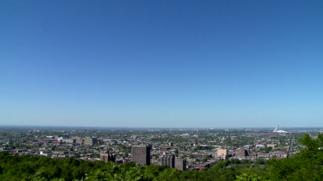 ws of montreal skyline with olympic stadium - sunny stock videos & royalty-free footage