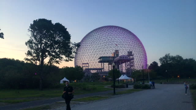 Montreal's Biosphere at dusk in the recreation area of Saint Helen's island, Canada