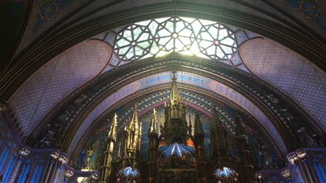montreal's notre dame basilica catholic church, indoor view. montreal,canada - revival stock videos & royalty-free footage
