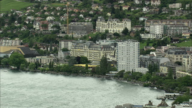 aerial zo montreux palace hotel and cityscape, montreux, vaud, switzerland - montreux stock videos and b-roll footage