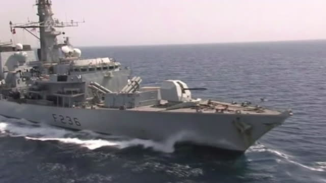 hms montrose royal navy warship filmed at sea in 2012 but recently had to warn off iranian gunboats who tried to intercept a british oil tanker in... - gulf countries stock videos and b-roll footage