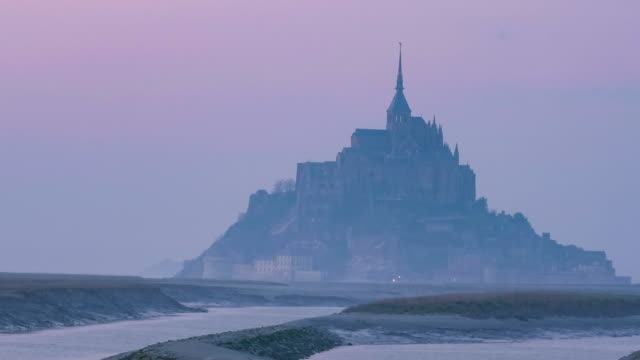 mont-saint-michel at sunset, time lapse - hamburg germany stock videos & royalty-free footage