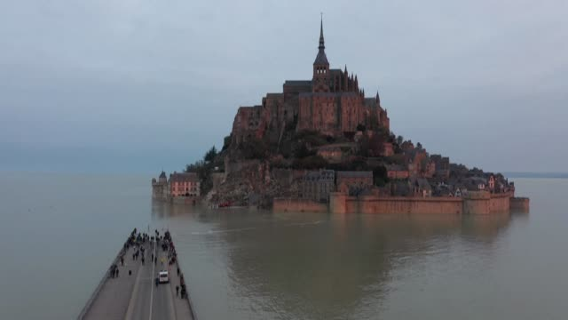 FRA: Mont-Saint-Michel becomes an island during the high tides