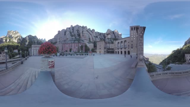 vídeos de stock e filmes b-roll de montserrat barcelona - panorama equiretangular