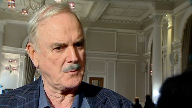 interviews england london playhouse theatre int john cleese interview sot/ micheal palin interview sot - john cleese stock videos & royalty-free footage