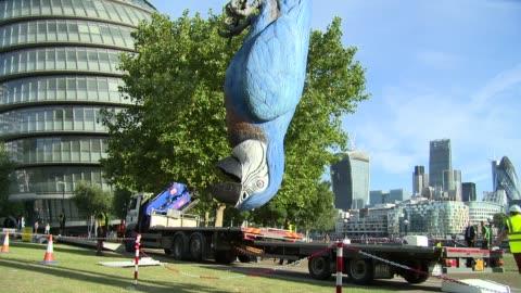 vídeos de stock, filmes e b-roll de monty python's 'the dead parrot' at celebrity sightings in london 14th july 2014. - monty python