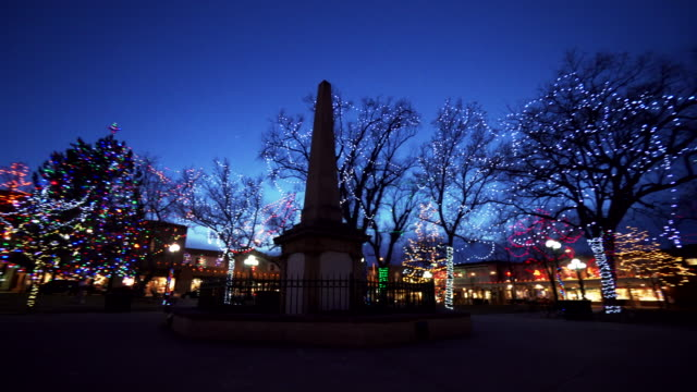 monument in new mexico park illuminated by holiday lights, new mexico - town stock videos & royalty-free footage