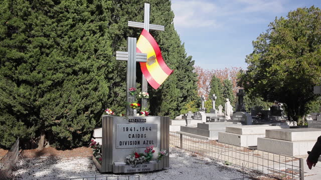 monument in tribute to the spanish dead in the second world war lies at the almudena cemetery on november 1 in madrid, spain. the almudena cemetery... - azul stock videos & royalty-free footage