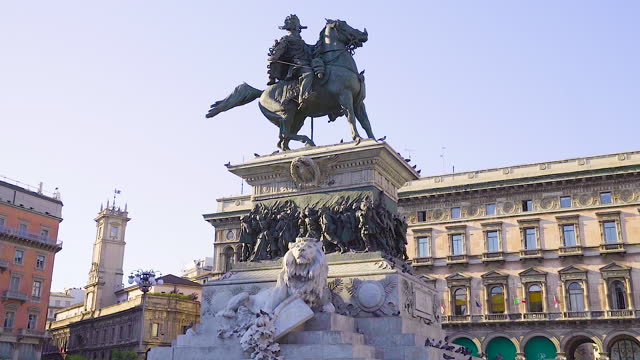 monument of victor emmanuel ii (monumento nazionale a vittorio emanuele ii) / milan, italy - italian culture stock videos & royalty-free footage