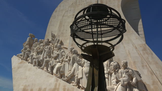 monument to the discoveries (padrao dos descobrimentos), belem, lisbon, portugal - stone wall stock videos and b-roll footage