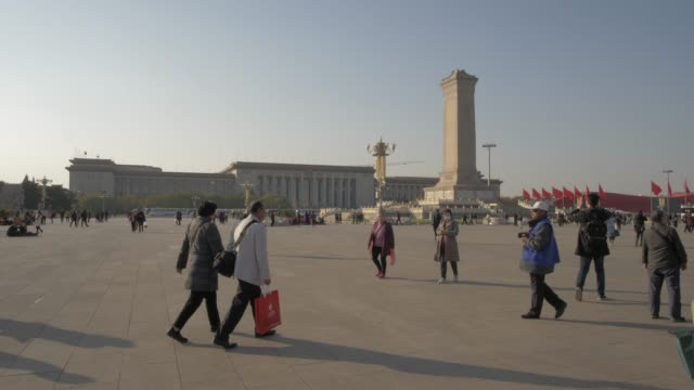 monument to the people's heroes in tiananmen square, beijing, people's republic of china, asia - tiananmen square stock videos & royalty-free footage