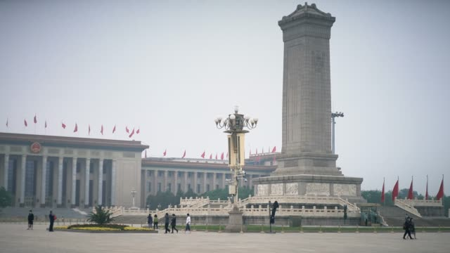 monument to the people's heros in tiananmen square,beijing,china. - tiananmen square stock videos & royalty-free footage