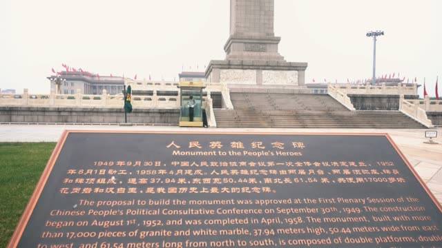 monument to the people's heros in tiananmen square,beijing,china. - 中国国家博物館点の映像素材/bロール