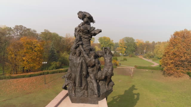 monument to the victims of the holocaust in babi yar, kiev - genocide stock videos & royalty-free footage